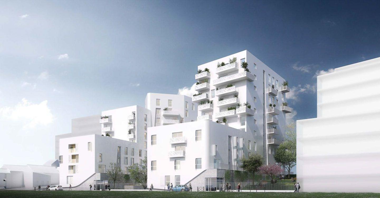 Façade blanche de l'immeuble Vitry