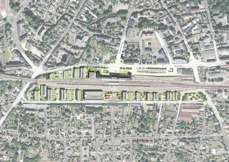 Vue aérienne du Pole d'affaire de la gare de Dreux